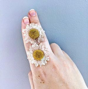 Sunflower lucite stud earrings